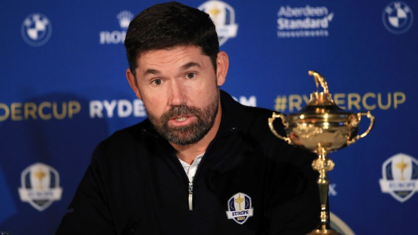 Padraig Harrington speaks to the media Tuesday in Virginia Water, England, after being named Europe's Ryder Cup captain for 2020.