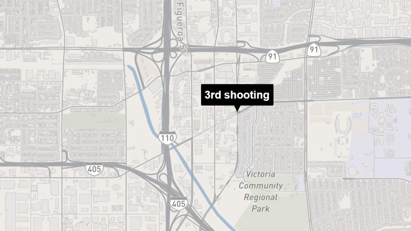 Map shows approximate location of a shooting in Carson.