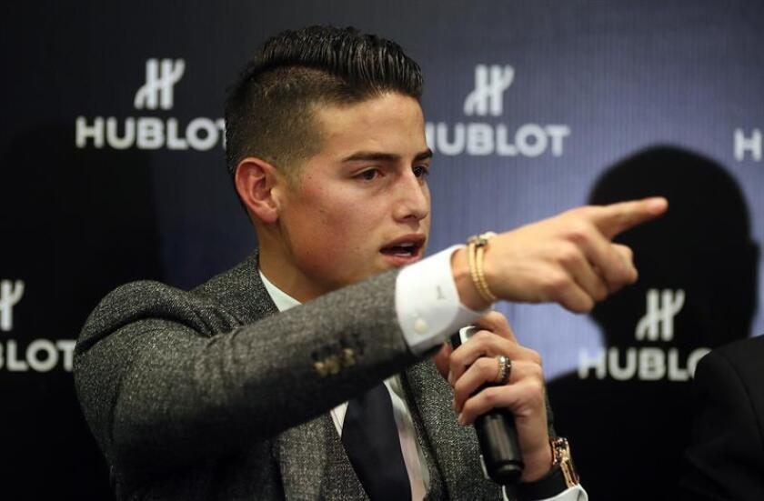 Bayern Munich midfielder James Rodriguez answers questions at a press conference in Bogota on Thursday, Dec. 20. EFE-EPA/Mauricio Dueñas Castañeda