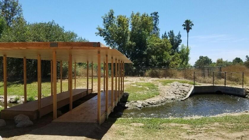 """Rirkit Tiravanija, """"Untitled 2016 (LA water, water pavilion),"""" wood-frame pavilion, Sepulveda Basin"""