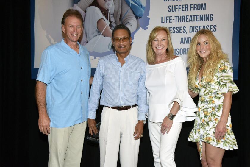 Brad Thorp, Pillar of Hope honoree Dr. Allan Camaisa (Chairman & CEO Calidi Biotherapuetics), Beth Thorp, Megan Camaisa