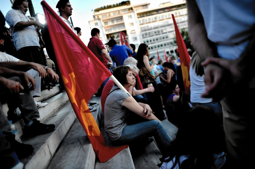 Demonstrators take part in a rally in Athens. An upcoming referendum on a bailout package for Greece has been the focus of demonstrations.