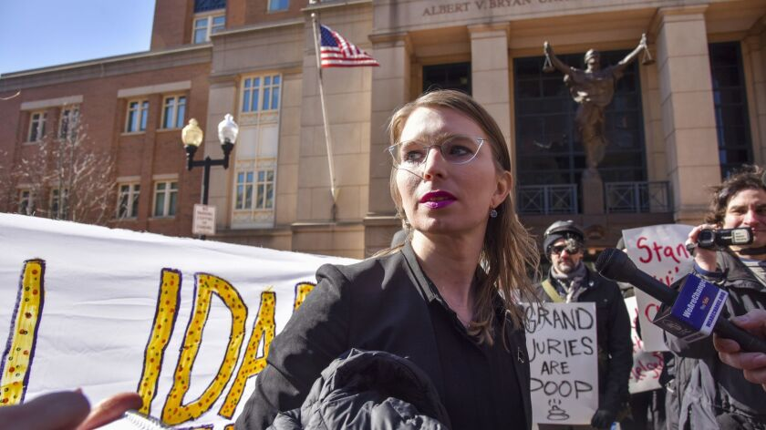Chelsea Manning outside court in Alexandria, Va.