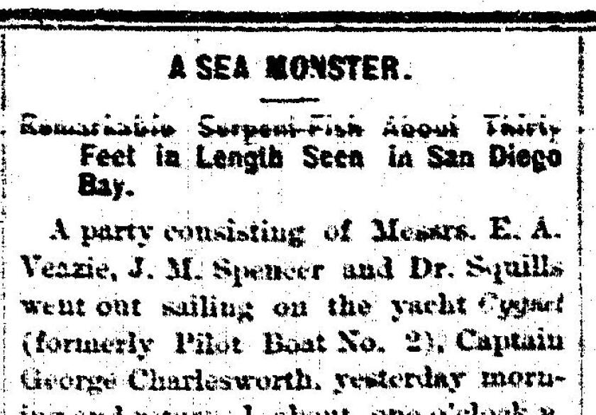 Union headline from Oct. 22, 1873 about a sea monster