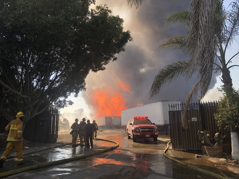Caliente fire burns in Otay Mesa, Calif.