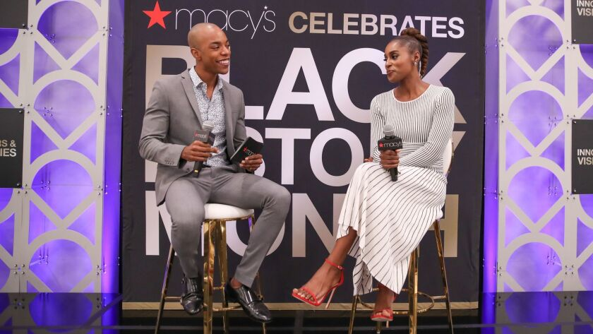 """""""Insecure's"""" Issa Rae chats with Clevver news correspondent Emile Ennis Jr. as part of Macy's Celebrates Black History Month."""