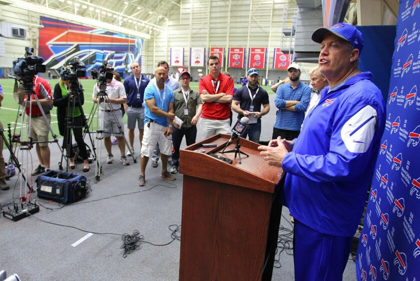 Buffalo Bills head coach Rex Ryan speaks to the media following an NFL football practice in Orchard Park, N.Y., Tuesday, May 24, 2016. (AP Photo/Bill Wippert)