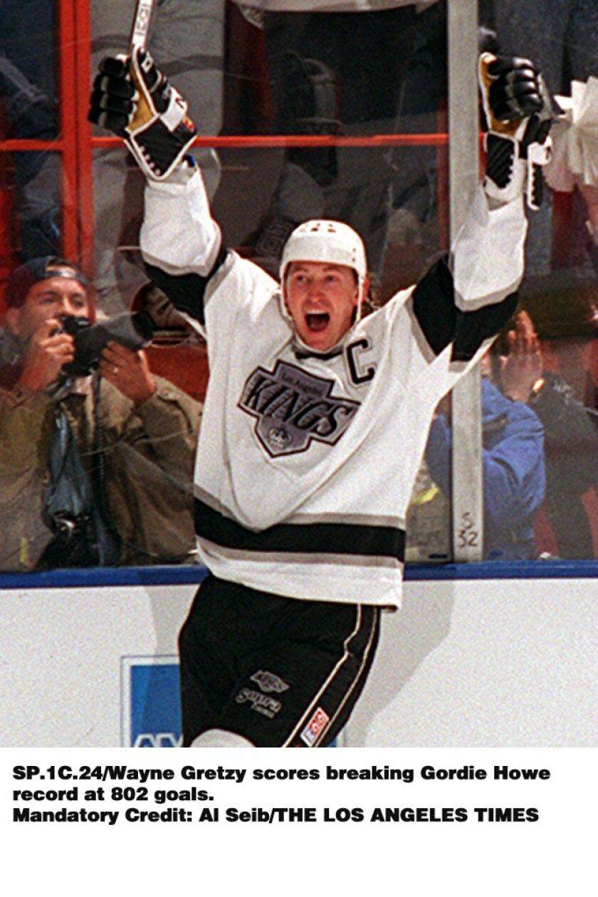 March 23, 1994: Wayne Gretzky scores goal No. 802 to break Gordie Howe's record.