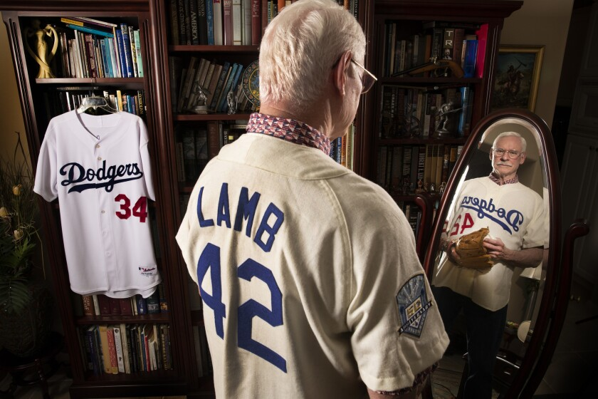 cheaper 1a98a bc591 Column: Meet Ray Lamb, the last Dodger to wear Jackie ...