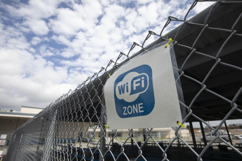 The Del Dios Arts and Science Academy in Escondido boosted its internet signal so students could work in the parking lot.
