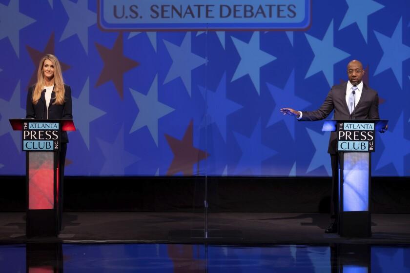 Kelly Loeffler debates her Democratic challenger for U.S. Senate Raphael Warnock.