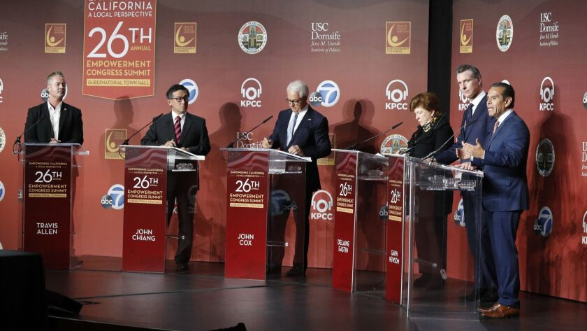 LOS ANGELES, CALIF. -- SATURDAY, JANUARY 13, 2018: California gubernatorial candidates from left: A