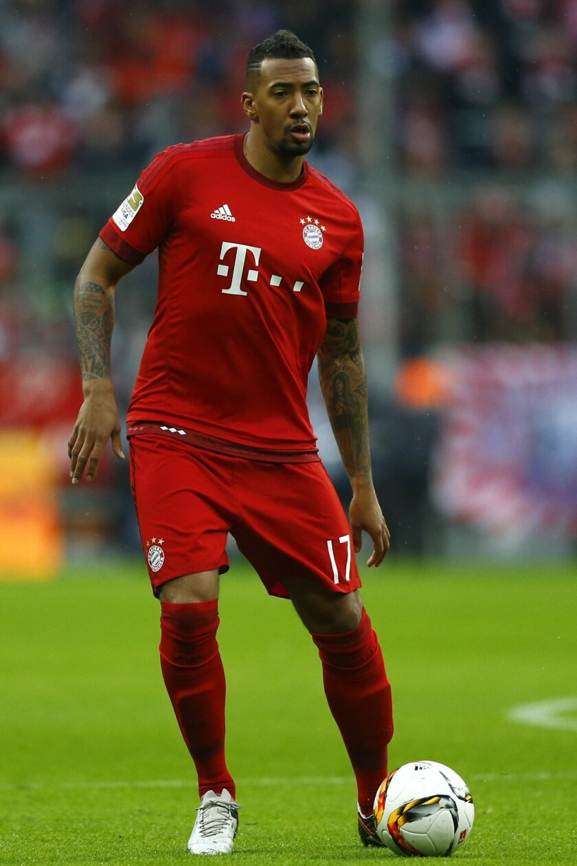 FILE - In this Nov. 28, 2015 file photo Bayern's Jerome Boateng controls the ball during the German Bundesliga soccer match between FC Bayern Munich and Hertha BSC Berlin at the Allianz Arena stadium in Munich, Germany. Alexander Gauland, deputy leader of Alternative for Germany, was quoted Sunday,