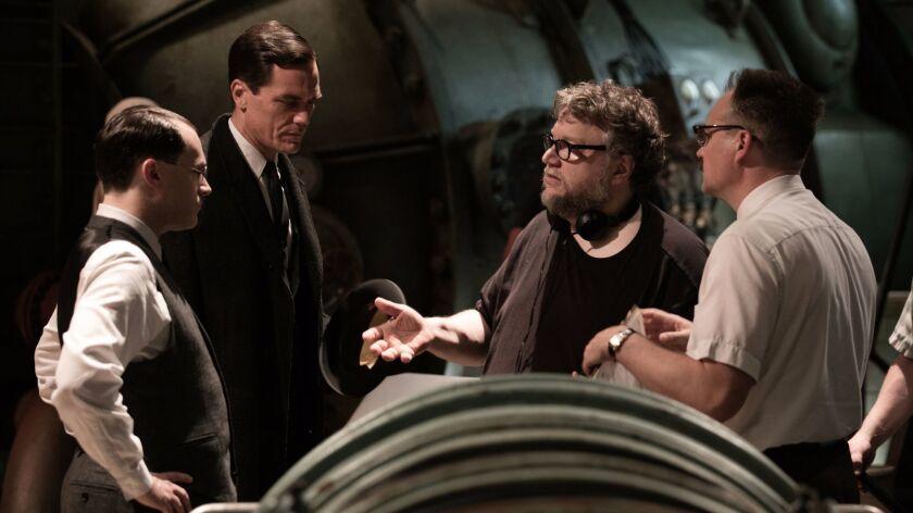 Michael Stuhlbarg, Michael Shannon, director/writer/producer Guillermo del Torro and David Hewlett o