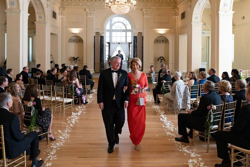 White House Chief of Staff Mark Meadows and his wife, Debbie, during their daughter's wedding May 31.