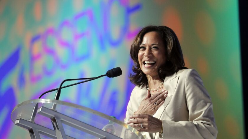 Sen. Kamala Harris (D-Calif.) frames her presidential campaign as part of a legacy of barrier-breaking black women.