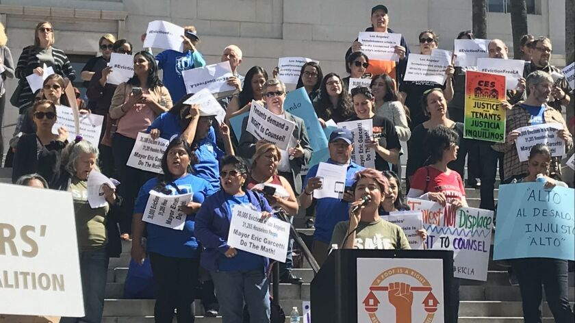 Tenant activists want L A  Mayor Garcetti to put $10 million