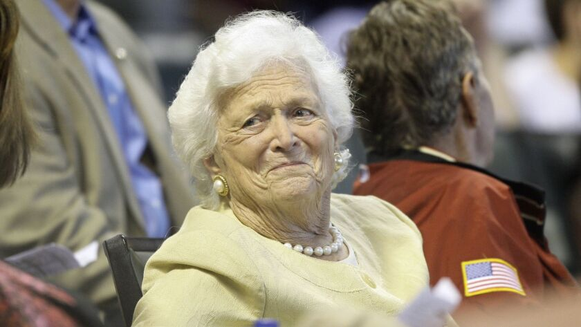 Former First Lady Barbara Bush during the third inning of a major league baseball game in Houston in 2009.