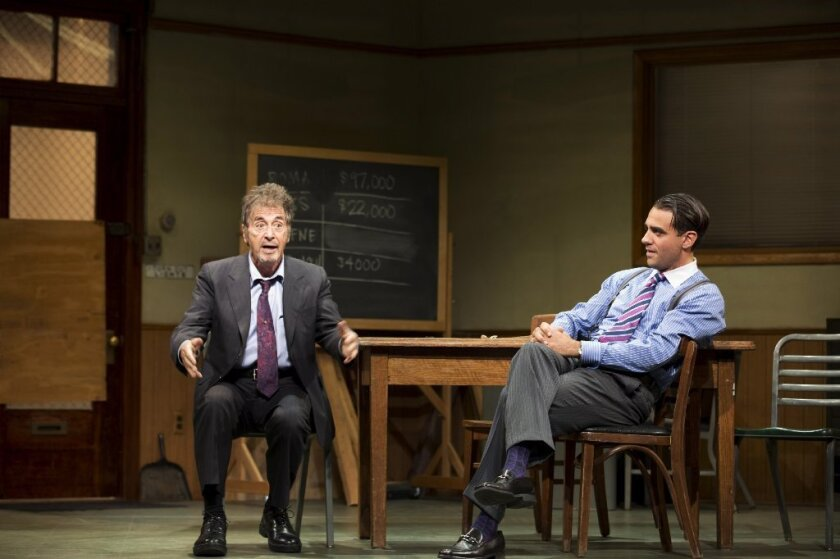"Al Pacino, left, and Bobby Cannavale in a scene from the revival of David Mamet's ""Glengarry Glen Ross"" at the Gerald Schoenfeld Theatre in New York."