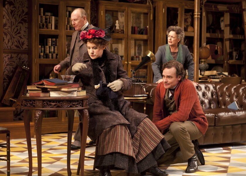 "Charlotte Parry and Robert Sean Leonard, with (in background) Paxton Whitehead and Deborah Taylor, in the Old Globe Theatre's ""Pygmalion."""