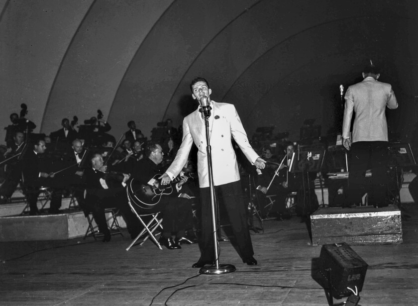 Aug. 14, 1943: Frank Sinatra performing at the Hollywood Bowl.