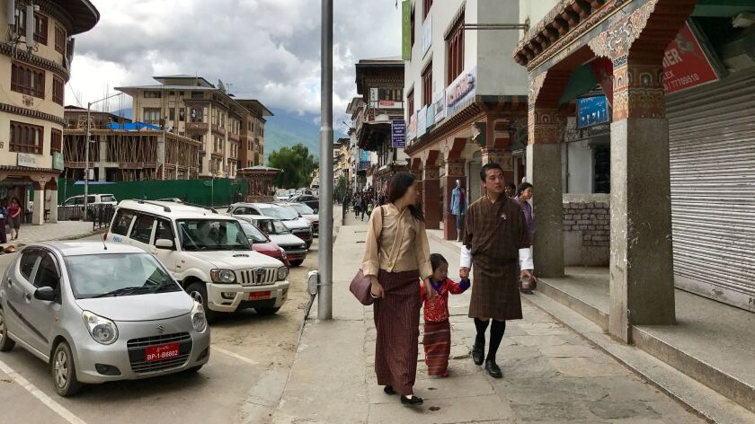 Indian-made cars line the roads of Thimphu, Bhutan's capital.