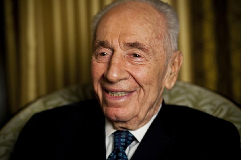Former Israeli President Shimon Peres at the Beverly Wilshire hotel in February 2015.