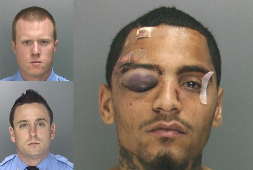 Philadelphia Police Officers Kevin Robinson, top left, and Sean McKnight, below. On the right is the suspect, Najee Rivera, after his 2013 confrontation with the officers.