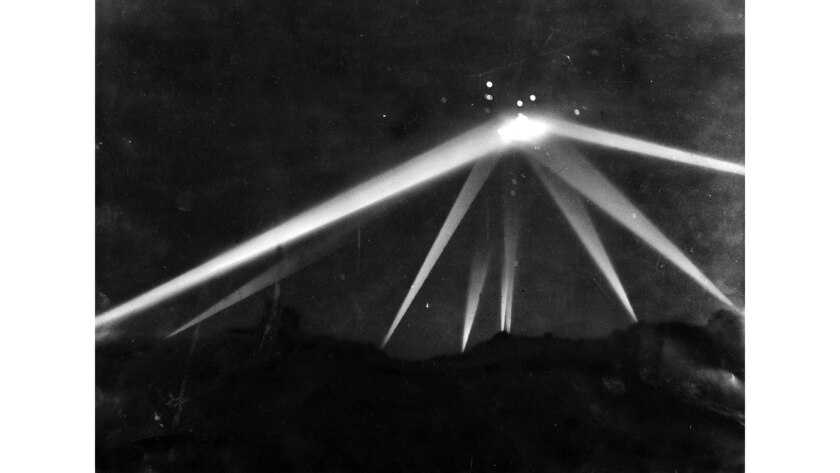 Feb. 25, 1942. Retouched version of searchlight photo after work by Los Angeles Times artists.