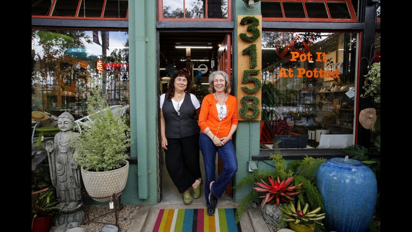 Potted co-owners Annette Gutierrez, left, and Mary Gray recently expanded their Atwater Village home and garden store.