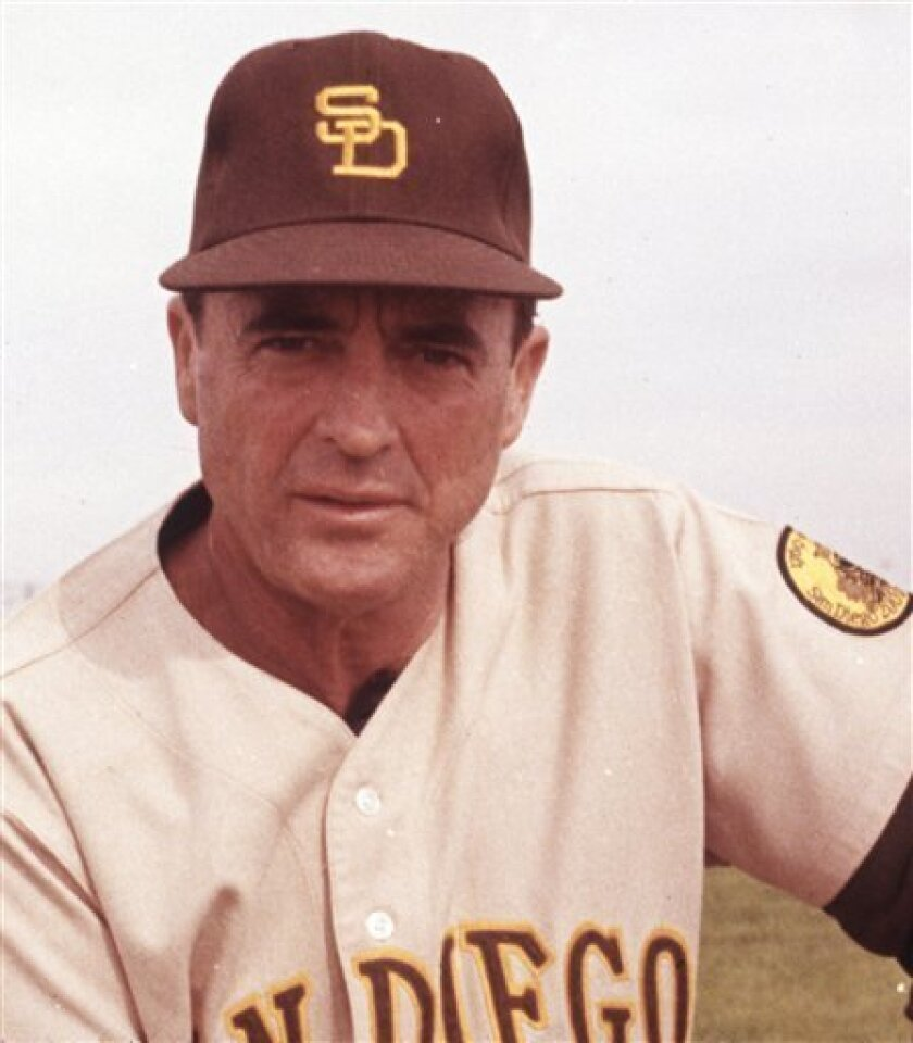 In this undated file photo, San Diego Padres manager Preston Gomez is shown. Gomez, the first manager in San Diego Padres history,  died Tuesday, Jan. 13, 2009 in Fullerton, Calif. He was 85. Gomez was hit by a pickup truck in March, 2008 in California and never fully recovered from head injuries.