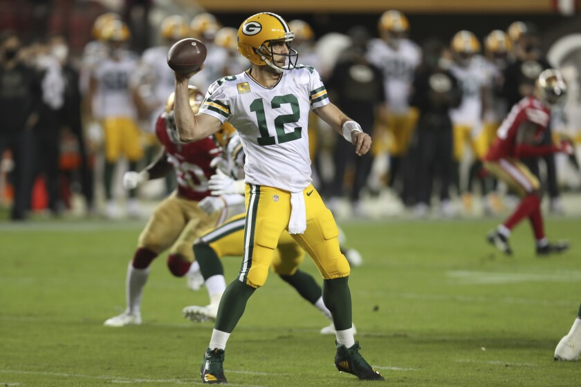 Green Bay Packers quarterback Aaron Rodgers against the San Francisco 49ers.