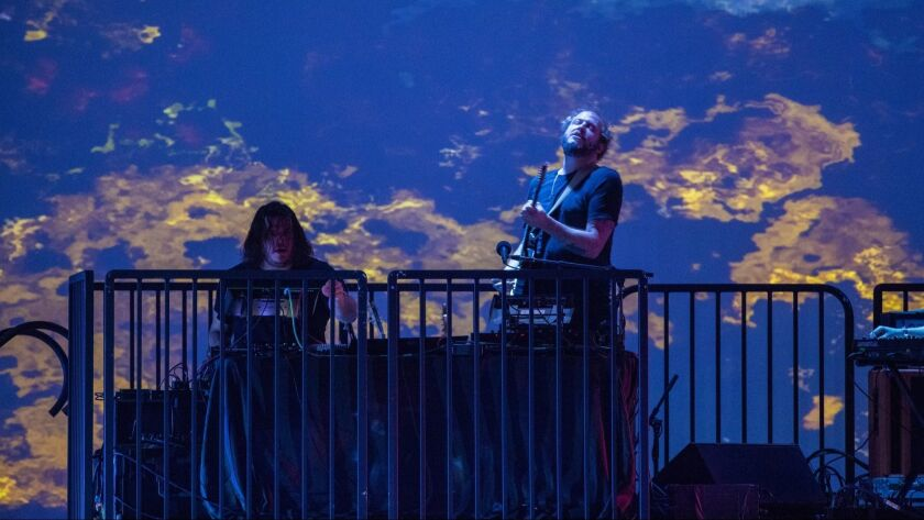 HOLLYWOOD, CALIF. -- SUNDAY, AUGUST 5, 2018: Bon Iver performs with TU Dance, at the Hollywood Bowl