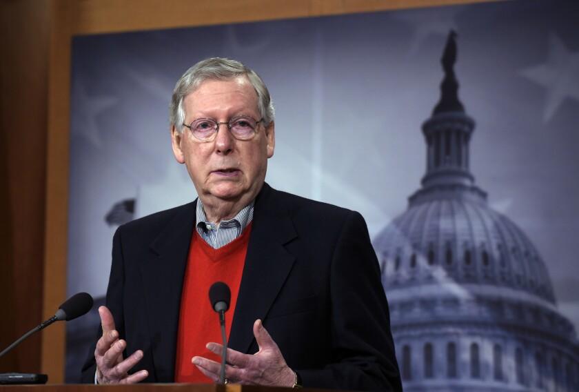 Senate Majority Leader Mitch McConnell speaks in Washington in 2017.