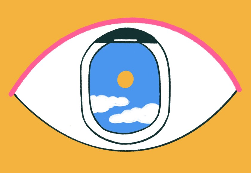 An illustration of an eye with an airplane window standing in as the pupil.