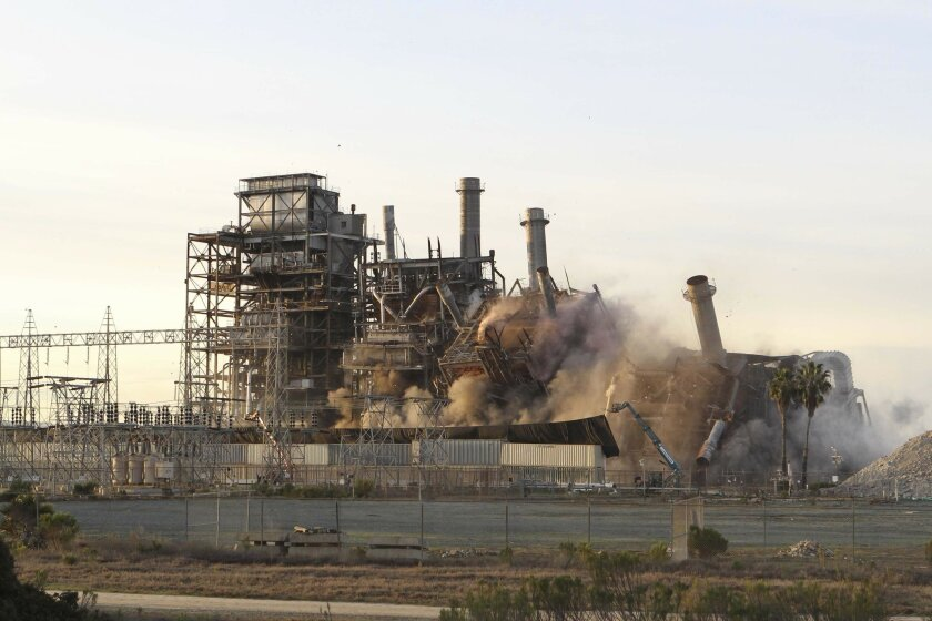 The South Bay Power Plant was leveled in a series of controlled detonations in 2013. JOHN GIBBINS • U-T file