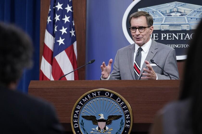 Pentagon spokesman John Kirby speaks during a briefing at the Pentagon in Washington, Monday, Aug. 9, 2021. (AP Photo/Susan Walsh)