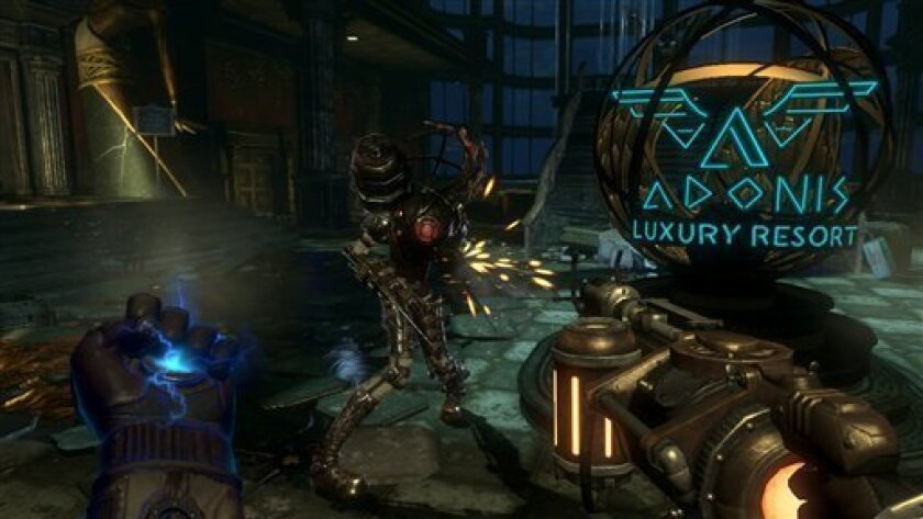 """In this video game image released by 2K Games, genetically modified warriors battle for dominance of an undersea city called Rapture in a scene from """"BioShock 2"""" (AP Photo/2K Games)"""