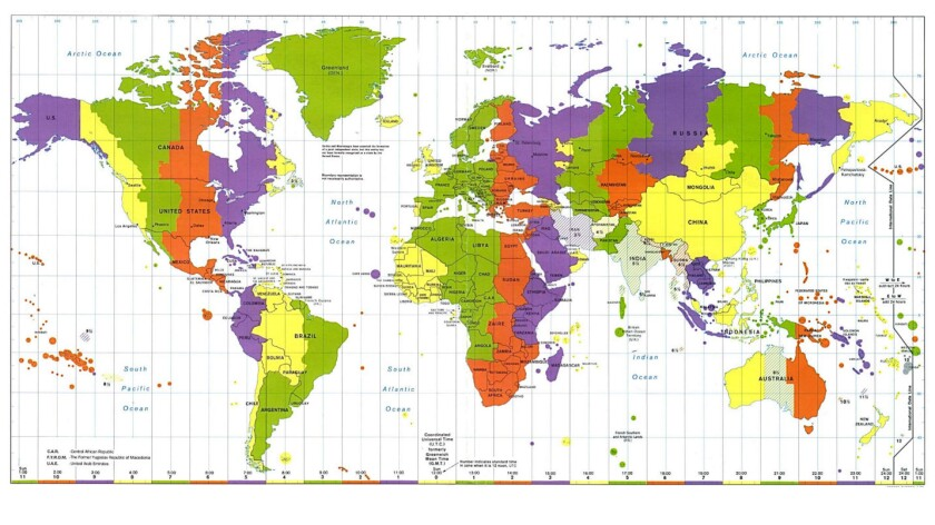 Not a pretty picture? Shown are the world's time zones, pegged to Britain's Greenwich Mean Time.
