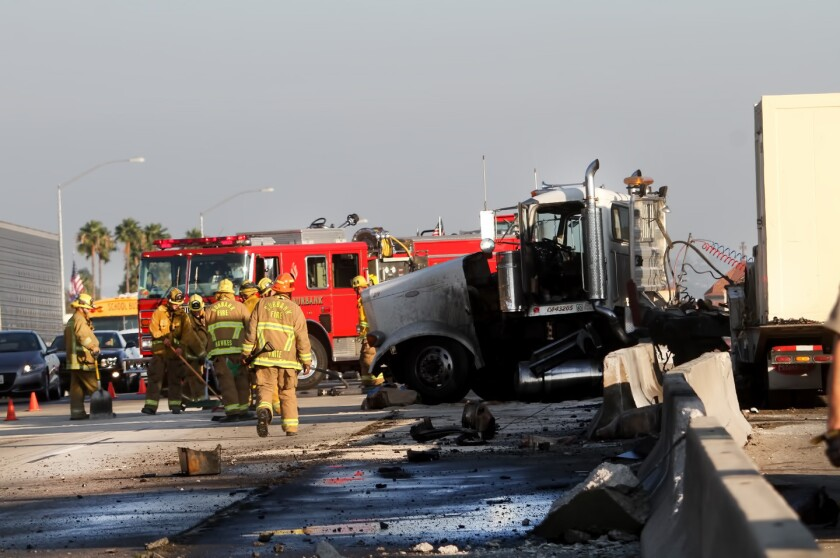 No injuries reported in Friday's big-rig crash