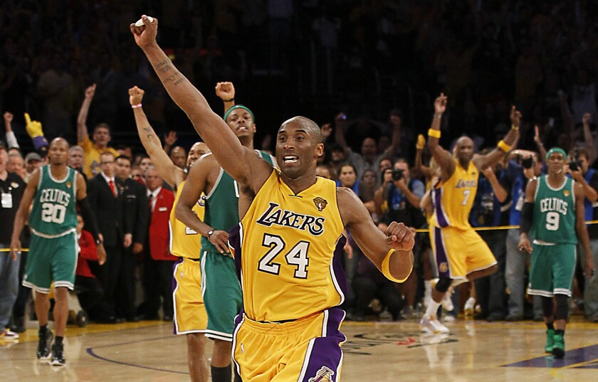 Kobe Bryant celebrates the Lakers' Game 7 victory over the Boston Celtics in the 2010 NBA Finals at Staples Center.
