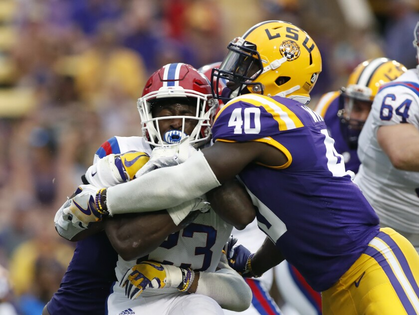 Devin White (40) is a former running back turned Butkus Award winner (nation's top linebacker) with uncanny speed for the position. He's a weight-room warrior with elite work ethic and will likely be the first linebacker selected in the upcoming NFL Draft in Nashville. (AP Photo/Tyler Kaufman, File)