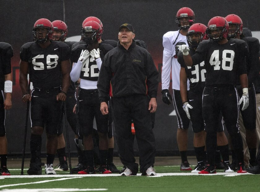 Aztecs head coach Rocky Long and team during spring practice in March 2012.