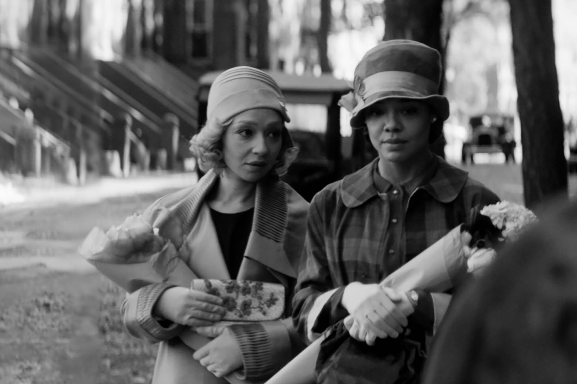 "Ruth Negga and Tessa Thompson in a scene from ""Passing"" by Rebecca Hall"
