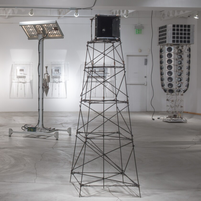 """Installation of """"Towers"""" and other works by Matt Hope at Ace Gallery in Beverly Hills."""