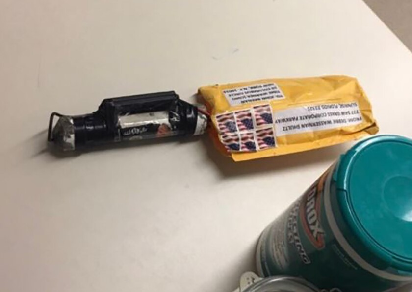 An Image obtained by CNN shows a suspected explosive device received at the CNN bureau in New York City on Wednesday.