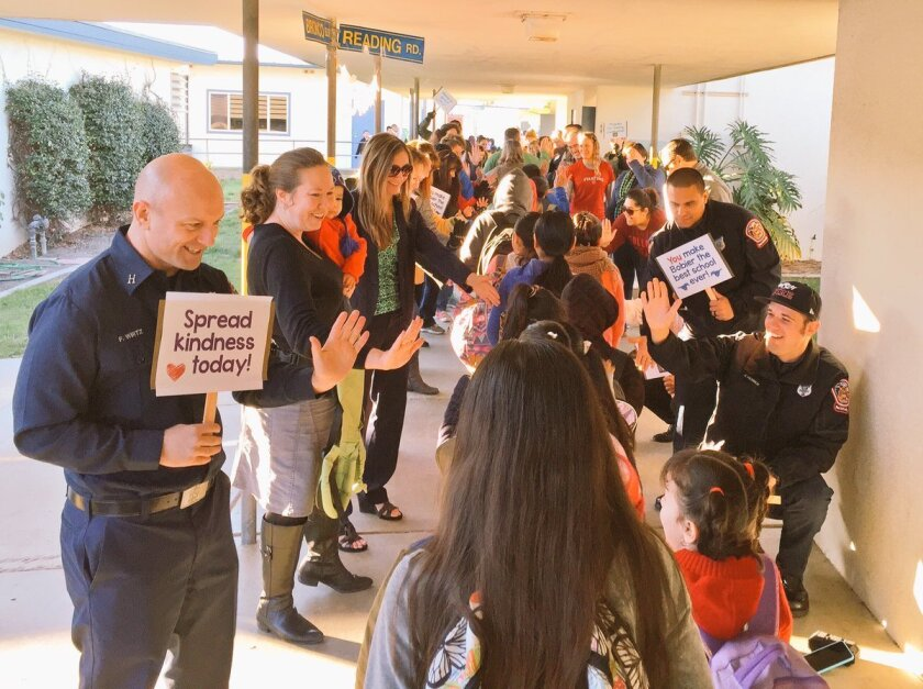 """Bobier Elementary students were surprised by a """"tunnel of kindness"""" from school staff and the Vista community during The Great Kindness Challenge."""
