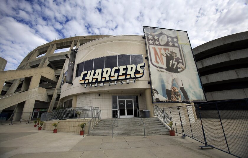 An exterior view of the Charges store in the Qualcomm Stadium complex.
