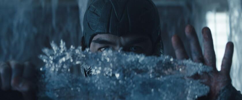 "Joe Taslim as Sub-Zero in ""Mortal Kombat"" manipulates ice."