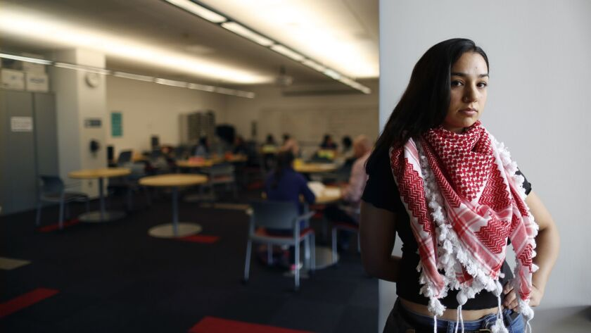 """Cal State Northridge student Sarah Shabbar, who is Jordanian American, says when she was growing up she was counted among the white students in school and wondered why she had to """"conform to something I don't agree with."""""""